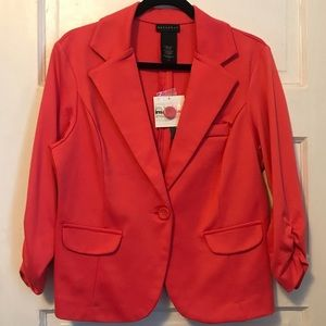 NEW! Pink/Coral Ruched Sleeve Knit Blazer